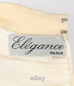 ELEGANCE Paris c. 1960's Cream Wool Sleeveless Mod A Line Cocktail Dress