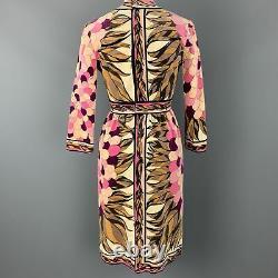 EMILIO PUCCI Vintage Size 10 Pink Print Velvet A Line Long Sleeve Dress