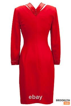 ESCADA COUTURE Red Dress Vintage Rare Sequins Cocktail Long sleeve Vneck Sz 36