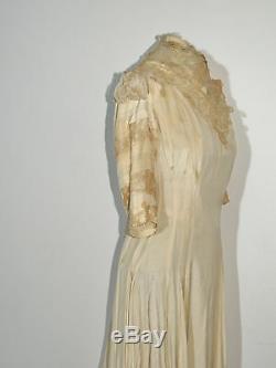 Edwardian Princess Lined Dress w Battenburg Lace / Train From Museum SM