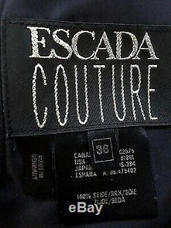 Escada Couture Designer Women's Size 4 Black Silk Formal Dress Bedazzeled Beaded