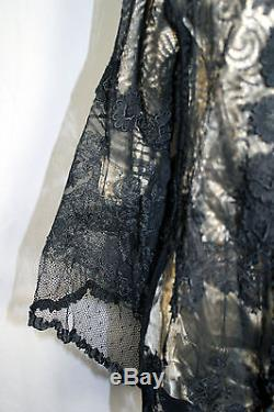 Exceptional French Victorian-edwardian Black Silk Lace Satin Lined Jacket Sz 36