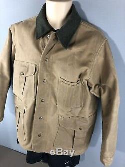 FILSON JACKET Mackinaw Cruiser 64L Size 42 Oil Skin Wool Lined Tin Cloth EUC vtg
