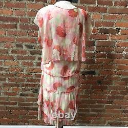 FLAPPER 1920S FLORAL CHIFFON MUSLIN LINED DAY DRESS Cape Back Tiered XS