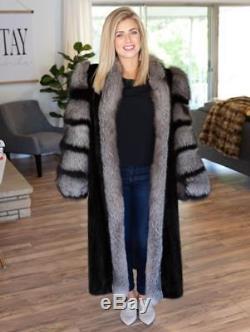 FULL LENGTH Black Mink & Crystal Fox fur Coat Fully Lined Medium Large 10 12