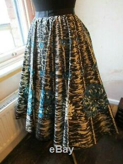 Fab Original Vintage 1950s Lined Circle Skirt Floral Cotton Glitter Swing L-XL