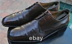 Ferragamo Man's Tramezza Brownish burnished Antiqued leather shoes Sz 12 D