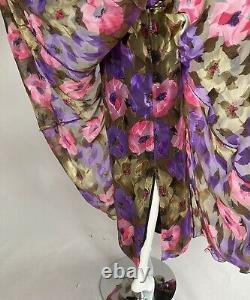 Frank Usher For Saks Fifth Ave Vintage Floral Silk Chiffon Dress Sz 36/10