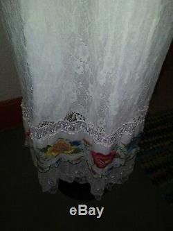 Free People Wedding Embroidered dress gown large 12 l floral lace boho peasant