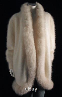 Fuzzy 80% Angora Vintage Sweater Coat Jacket CACHÉ Off-White Lined 46-Bust