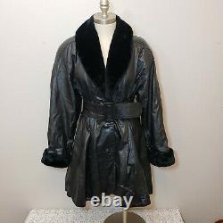 G-III Black Leather vintage Trench Coat Faux Fur Collar Cuff Dress Belted Flared
