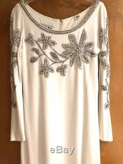 GORGEOUS MR BLACKWELL 60s WHITE A-LINE BEADED Pearls, Rhinestones & Glass Beading