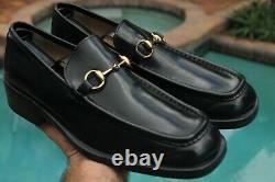GUCCI Men's Deep black Leather TOM FORD ERA Dress shoes brand Size 9.5 D
