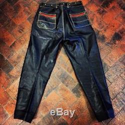German Black Leather Fully Lined Stuffed Biker Pants With Original Belt 1950s 32