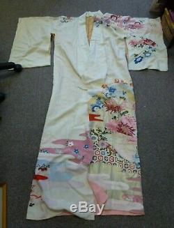 Glamorous Vintage Japanese genuine 100% cream Silk lined Kimono evening coat 50s