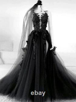 Gothic Black Wedding Dress Backless High Side Split A-line Bridal Gown with Veil