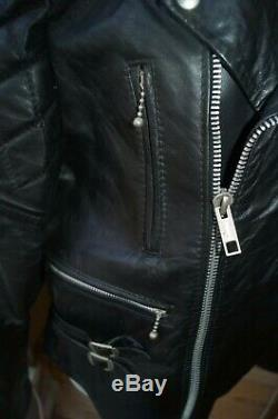 Great Vintage 60s 70s Leather Cafe Racer Biker Jacket Red Lined Lewis-style 44