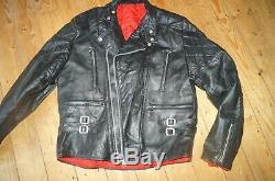 Great Vintage 60s 70s Leather Cafe Racer Biker Jacket Red Lined Lewis-style 44
