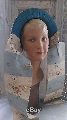 Great, antique victorian bonnet, straw lined with fabric and lovely large ribbons
