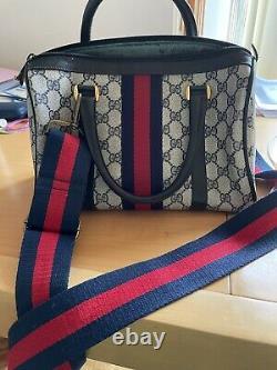 Gucci Authentic Vintage Leather/ Cloth Boston Bag 100% genuine