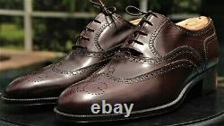 Gucci Mans Leather Burgundy Wingtip Tooled Leather Gucci Shoes Size 43.5 D