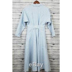 Gunne Sax Vintage 70s 80s Blue White Striped Dress Sz 8 A-Line