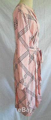 Guy Laroche Pink Dress Vintage 70s Belted Maxi Midi Black Graphic Lines 38