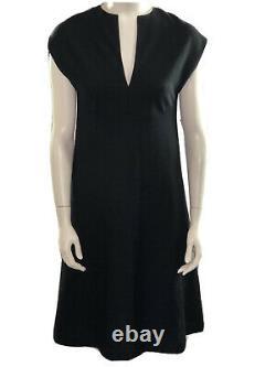 HALSTON Chisholm Halle Womens A-line Knit Dress Black Split Neck 10 Rare VTG