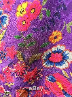 HANAE MORI Vintage Silk D. C. O Purple Floral Faux Wrap Sheath Dress 6 Lined