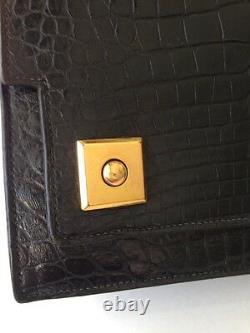 Hermes Black Top Crocodile Piano Dress Bag Handbag Rare Beautiful