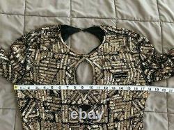 I. MAGNIN Vtg Black Lined Formal Gown Gold Sequins & Beads Long Dress Open Back