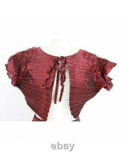 Issey Miyake Fete Skirt Suit Dress Pleated Vintage Red Purple