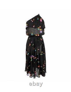 Issey Miyake Vintage Polka Dot Linen Black Skirt Suit Dress One Shoulder Top