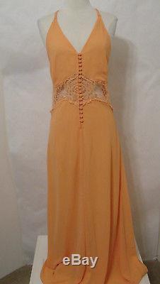 JARLO Vintage Orange Crochet Cut-Out Halter Maxi Lined Dress Model Length XS