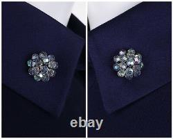 JEAN PATOU c. 1960's KARL LAGERFELD Blue Wool A-Line Shift Dress Crystal Detail