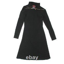 Jean Paul Gaultier A Line Midi Dress Black Long Sleeve Vintage US 6 8 40