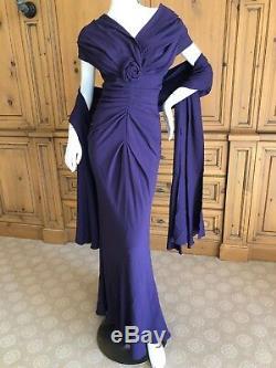John Galliano Christian Dior Purple Vintage Silk Lined Evening Dress w Shawl