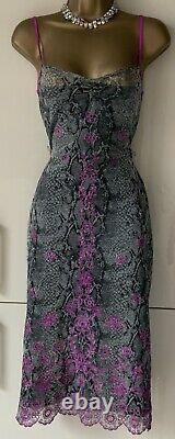 KAREN MILLEN VINTAGE Y2K 2000 Sz8 Grey Fuchsia Embellished Slip Wiggle Dress