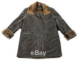 L XL Braun Jacke mit Pelzfutter BISAM Pelzjacke Pelz muskrat fur lined jacket