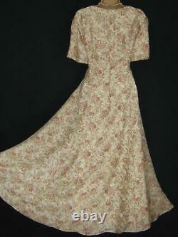 LAURA ASHLEY Vintage Lustrous Provence Pink Empire Rose Posy Silk Maxi Dress, 16