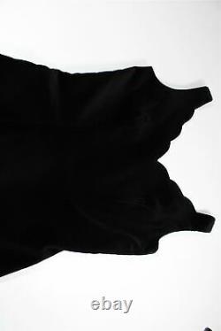 LAURA ASHLEY Vintage VELVET Black Scalloped Neckline Flattering Long Dress 38