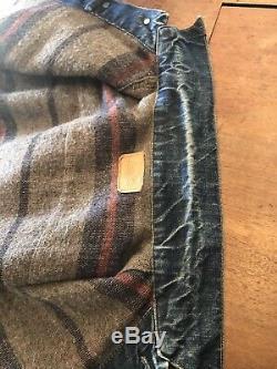 LEVIS Big E Blanket Lined Trucker Jacket Medium Or Large Denim Jean Selvedge