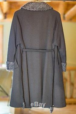 LILLI ANN Knit London VINTAGE 1960's GRAY belted Swing Coat WOOL collar lined