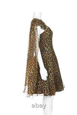 LILLIE RUBIN Cheetah Vintage Dress 10 Train Evening Mini Brown Gold Leopard Rare