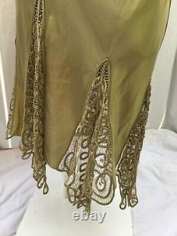 LILLIE RUBIN VINTAGE Silk Olive Green Fitted with Lace Cocktail Dress Sz 10 A+