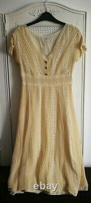 LK Bennett Sz UK 8 vintage women silk cream neutral lace party wedding dress