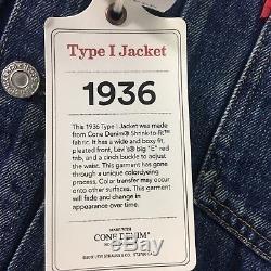 LVC Levi's Jacket 42 L Vintage Clothing Big E Western Frontier 1936 Type I Lined