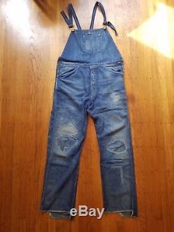 LVC XX Red Line Levi's Vintage Clothing Denim Dungarees Bib & Brace Sz 32x34