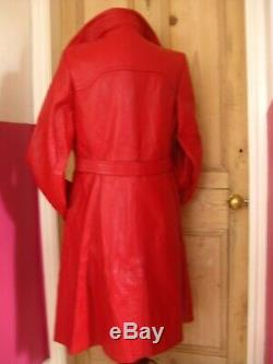 Ladies vintage COUNTY red leather double breasted COAT UK 14 12 long line duster