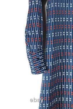 Lanvin I. Magnin Womens Size 8 Blue Shirt Dress Long Sleeve Printed 70s Vintage